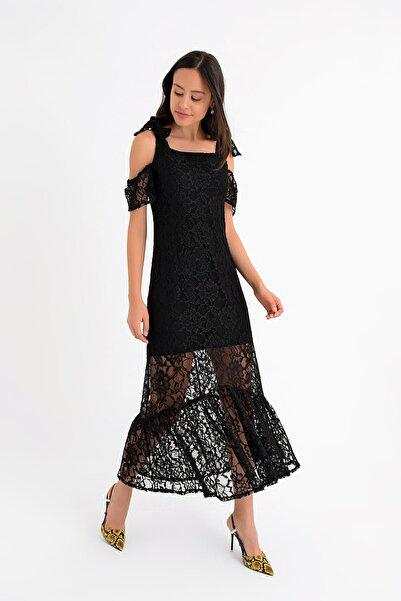 Hanna's by Hanna Darsa Kadın Siyah Omuzdan Bağlamalı Kol Detaylı Fermuarlı Dantel Elbise HN1669