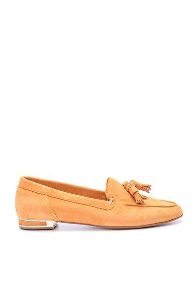 Derimod Hakiki Deri Turuncu Kadın Loafer Ayakkabı