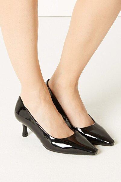 Marks & Spencer Kadın Siyah Kare Burunlu Topuklu Ayakkabı T02001350W