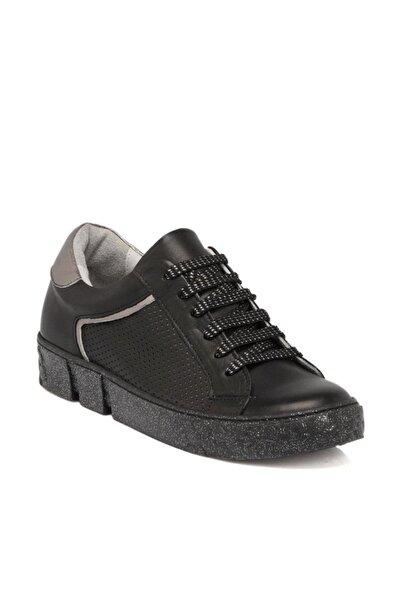 Tergan Hakiki Deri Siyah Deri Kadın Ayakkabı  K19I1AY64310