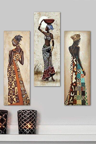 Evimona 3 Parçalı Mdf Tablo - Afrikalı Kadınlar