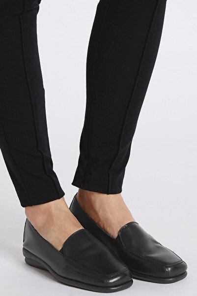 Marks & Spencer Kadın Siyah Deri Makosen Ayakkabı T02004753