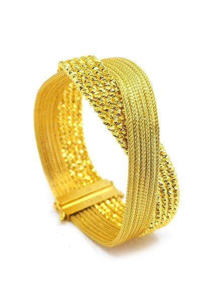 Safir Kuyumculuk Kadın Hasır Kelepçe Altın Bilezik BL09903