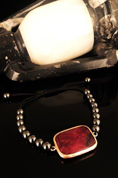Dr. Stone Dr Stone Doğaltaş Kadın Akik Taşı Rose Altın Kaplama Bileklik KRB379