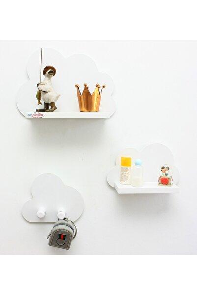 Ceebebek Beyaz Üçlü Bulut Raf Set Duvar Rafı Kitaplık Montessori Askılık Hediye