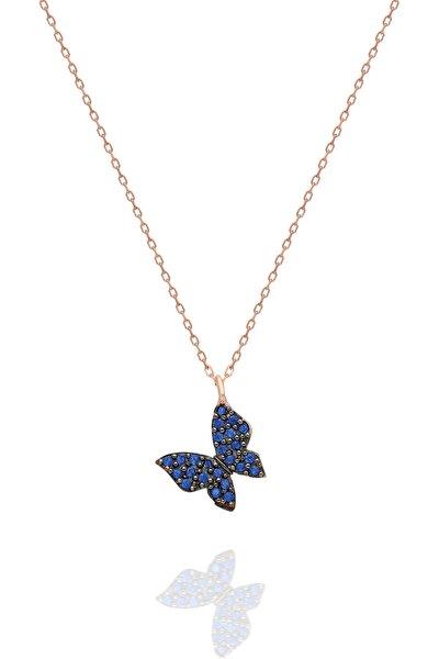 Nereze 925 Ayar Minik Mavi Kelebek Kadın Gümüş Kolye TXE8B92BA13498