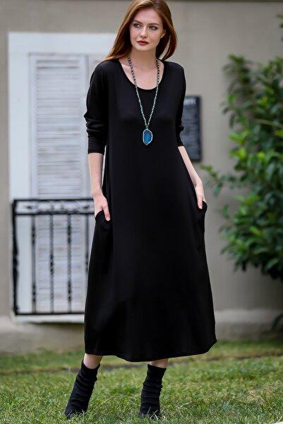 Chiccy Kadın Siyah Gizli Cepli Oversize Salaş Elbise C10160000EL97767