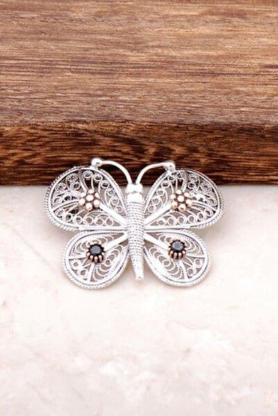 Kelebek Tasarımlı Elişi Gümüş Broş 279