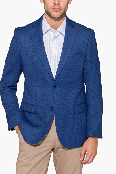 hateko Erkek Mavi Kışlık Geometrik Desenli Dar Kesim Ceket -116305
