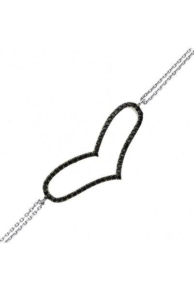 Altın Sepeti Gümüş Siyah Taşlı Kalp Bileklik