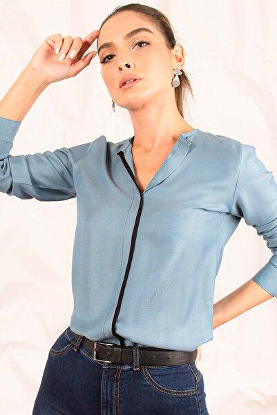 armonika Kadın Indigo Önü Biyeli Bluz ARM-20K001023