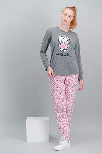 Hello Kitty Kadın Koyu Grimelanj LisanslıPijama Takım