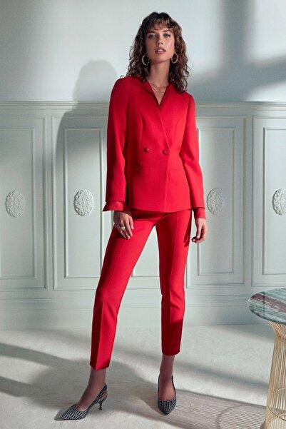 Koton Kadın Kırmızı Düğme Detaylı Ceket 0KAK52938UW