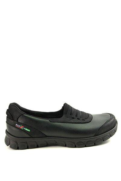 Forelli Hakiki Deri Siyah Kadın Comfort Ayakkabı 61007