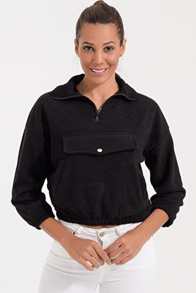 Deppoist Kadın Siyah Polar Kapaklı Sweatshirt P00012107