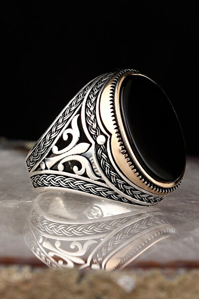 Tesbihevim Oniks Taşlı 925 Ayar Gümüş Yüzük EGYT-006