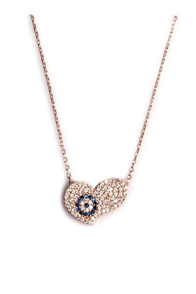 Sahra Zirkon Süslemeli Kalp Tasarım 925 Ayar Gümüş Kolye KLY-0066-40