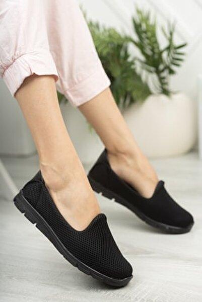 Kadın Siyah Rahat Hafif Taban Günlük Ayakkabı Babet