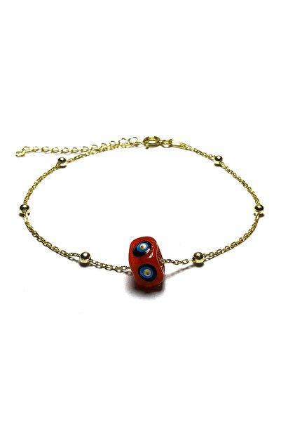 Midyat Gümüş Dünyası Kadın Kırmızı Nazar Boncuklu Bayan Gümüş Bileklik  MGD2020908D