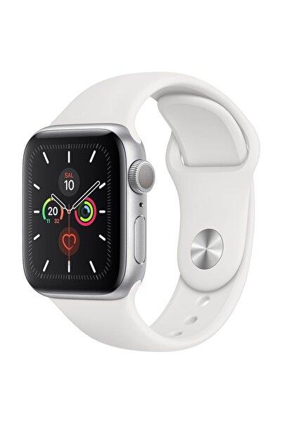 Apple Watch Series 5 GPS 40 mm Gümüş Rengi Alüminyum Kasa ve Beyaz Kordon