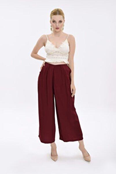 Kadın Bordo Bol Paçalı Uzun Pantolon HN1924