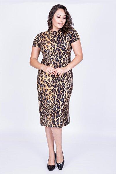 MYLİNE Kadın Desenli Yırtmaçlı Düz Elbise 34735