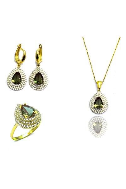 Midyat Gümüş Dünyası Kadın Altın Kaplama Özel Tasarım Zultanit Taşlı Küpe MGD20201110B