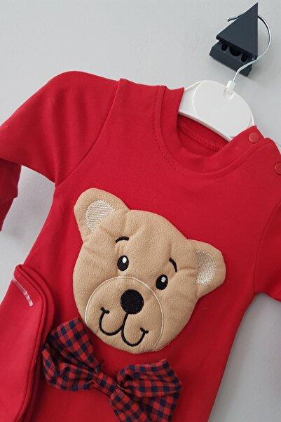 EREN Erkek Bebek Kırmızı 3-12 Ay Ayıcıklı Şapkalı Tulum