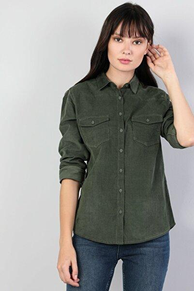 Colin's Dar Kesim Yeşil Kadın Uzun Kol Gömlek