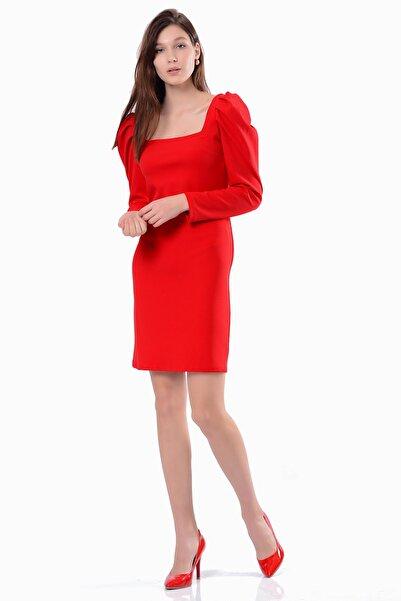 İroni Kadın Kırmızı Kare Yaka Elbise 5294-1202