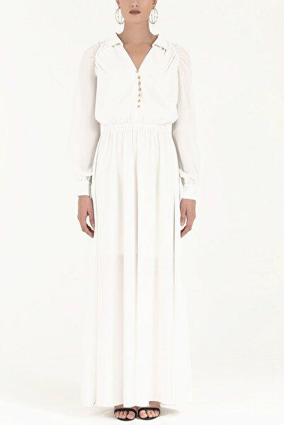 SOCIETA Omuzları Büzgülü Düğmeli Uzun Elbise Beyaz 92251