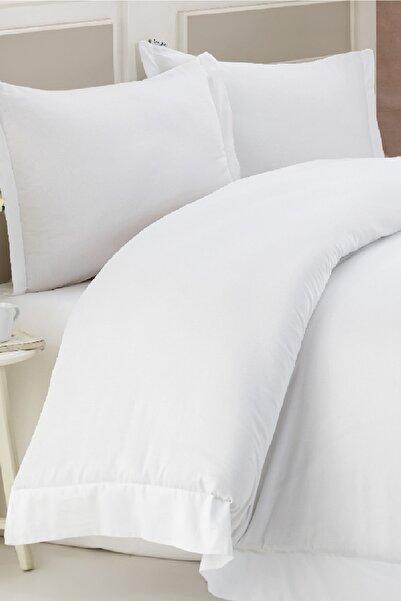 Marie Claire Otel Serisi Çift Kişilik Çarşaf Londres Pamuk Saten 260X280 Cm Beyaz