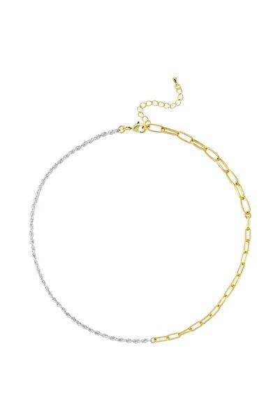 Luzdemia Kadın Prinç 14k Mikron Altın Kaplama Zincir Kolye (ROPE & LİNK CHAİN NECKLACE)