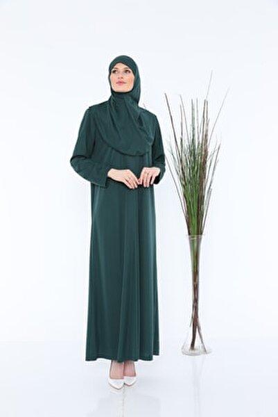 Zümrüt Yeşili Fermuarlı Tek Parça Namaz Elbisesi