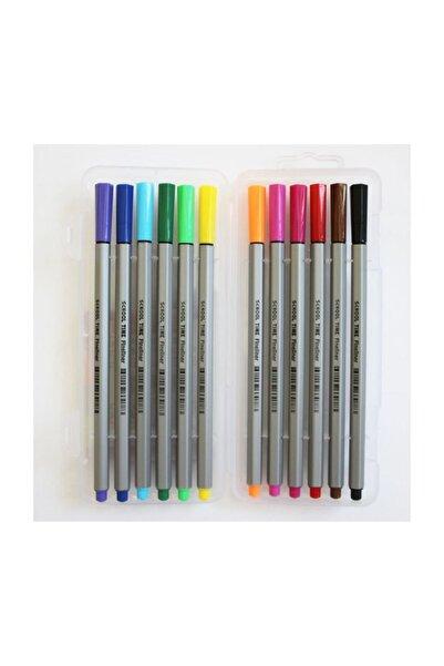 School Time Fineliner Keçe Uçlu Kalem 12 Renk Pvc Kutu