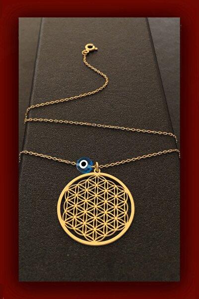 ROXX THE JEWELLRY Yaşam Çiçeği Gold Gümüş Kolye Nazarlı