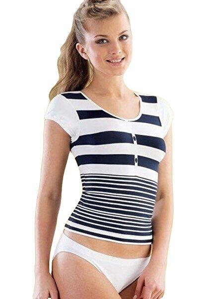 Emay Kadın Lacivert/Beyaz Dikişsiz T-Shirt 5026