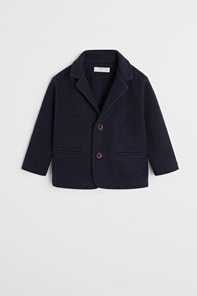 MANGO Baby Erkek Çocuk Lacivert Pamuk Dokumalı Blazer Ceket 67010233