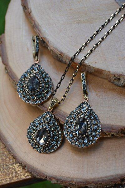 Stoneage Jewellery Zirkon Taşlı Otantik Bayan Kolye Küpe Set