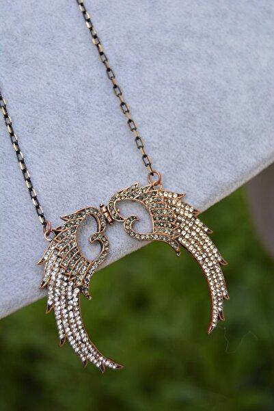 Stoneage Jewellery İki Renkli Melek Kanat Bayan Kolye