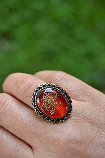 Stoneage Kuru Çiçekli Ayarlanabilir Kırmızı Kadın Yüzük