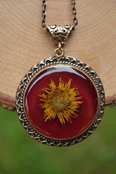 Stoneage Jewellery Gerçek Çiçek El Yapımı Bayan Kolye