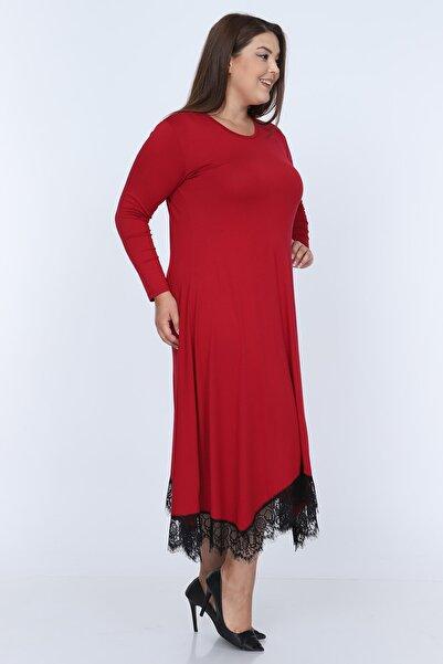 Mooi XXL Kadın Kırmızı Dantel Detaylı Likralı Viskon Kumaş Elbise