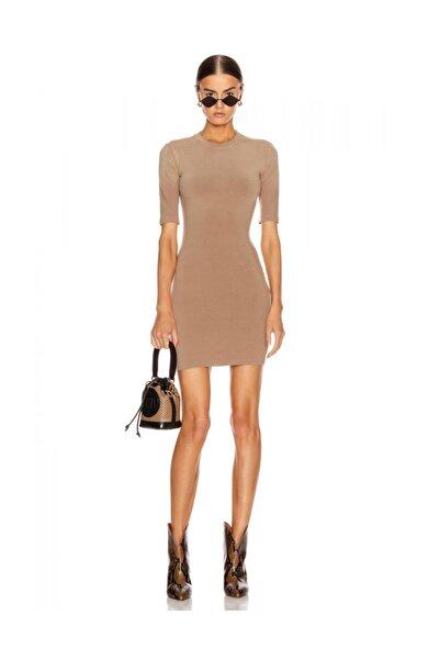 By Umut Design Kısa Kollu Ipek Jarse Nude Elbise