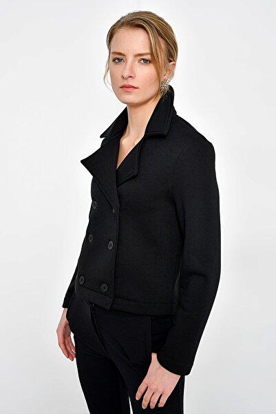 Hanna's by Hanna Darsa Kadın Siyah İçi Şardonlu Mini Ceket HN2388