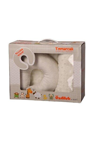 Özdilek Tomurcuk Bebek Battaniyesi Krem Boyun Yastığı Hediye