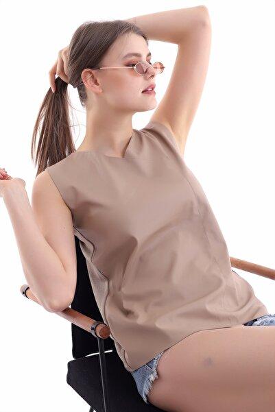 Cotton Mood 21112111 Önü Deri Arkası Triko Kolsuz Bluz Vızon
