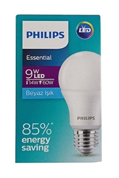 Philips 7 Adet Ess Ledbulb 9=60w 806 Lümen E27 Normal Duy 6500 Kelvin Beyaz Işık Led