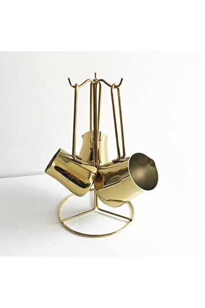 SILA Piramit Tam Gold 3'lü Cezve Seti Standlı