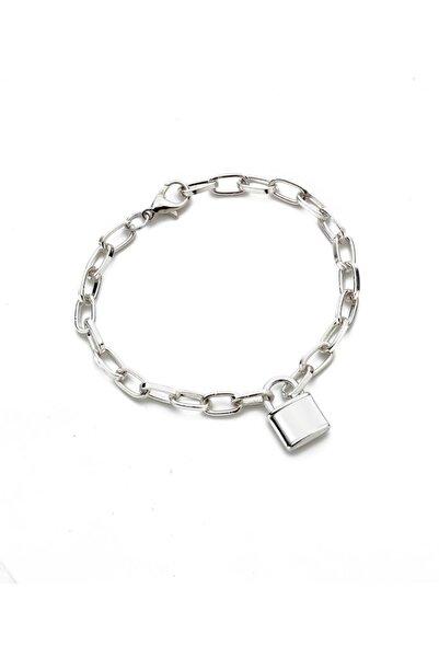 Modex Gümüş Rengi Kilit Figürlü Zincir Bileklik